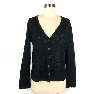 Escada Black Shimmery Button Down Cardigan Sweater